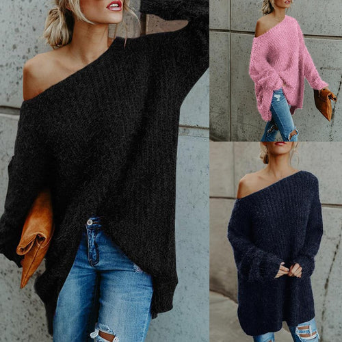 One Shoulder  Loose Fitting  Plain Sweater