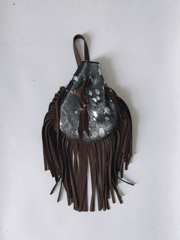 Acid Cowhide Toker Pouch Dark Silver/Dark Brown