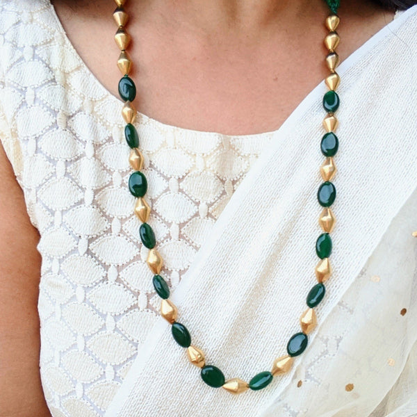 Green Onyx and  Gold polished dholki bead mala