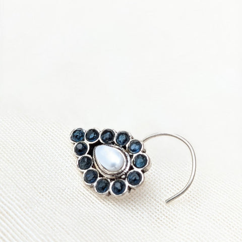 Blue gemstone and pearl studded tear drop shaped Silver wired Nose Pin