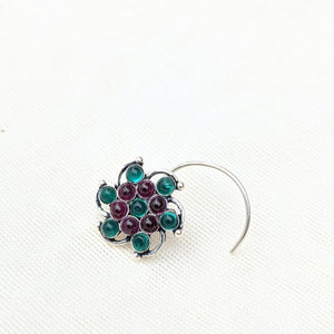 Blue gemstone and pearl studded floral Silver wired Nose Pin