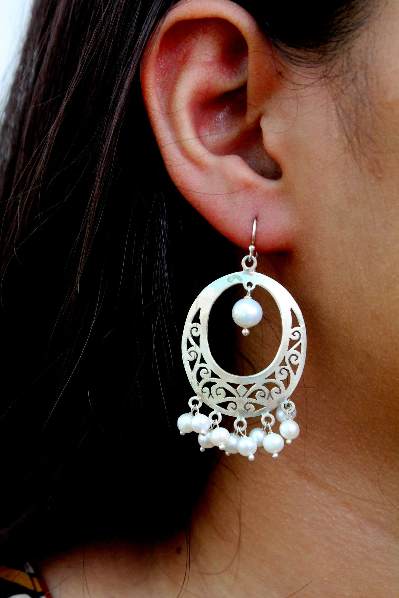 Jaali work dangle with hanging pearls