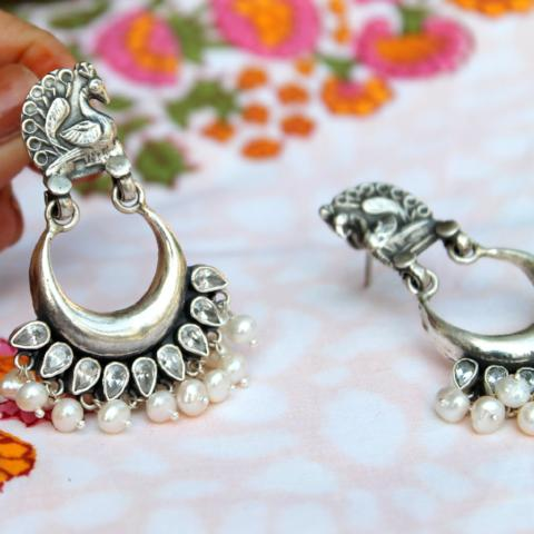 Temple Style Crescent Shaped Pearl and Ruby sterling silver earring