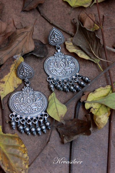Oxidized Jaipur silver earring