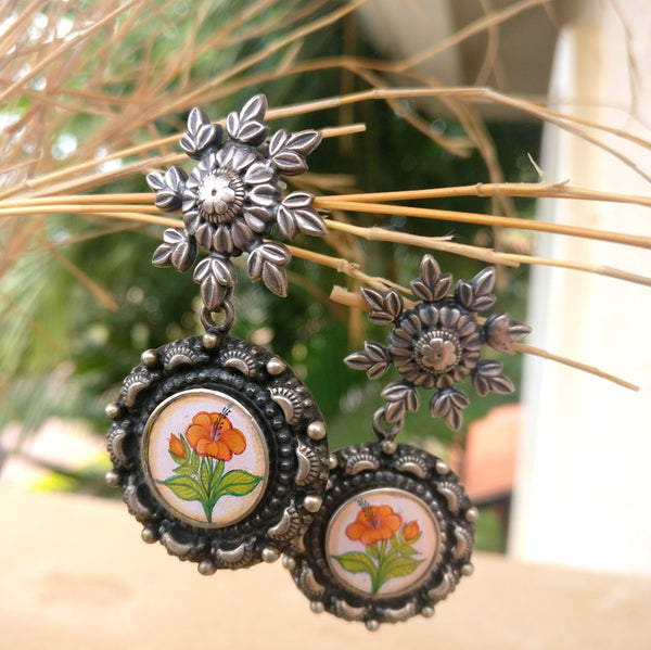 Handpainted oxidised sterling silver earring