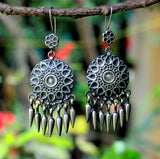 Oxidised Silver Dangle Earring, Tribal, LightWeight