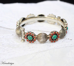 Floral Red and turquoise silver Kada or Bangle