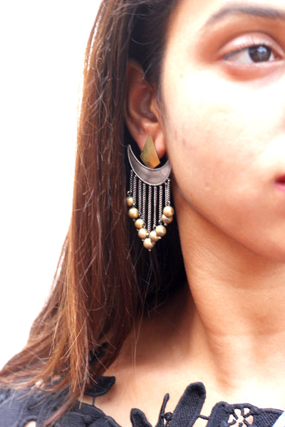 Shivey earring in silver and copper, Trishool earring