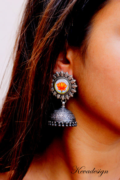 Handpainted orange Lotus Jhumka