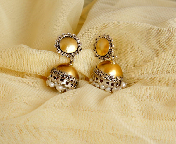 Dual Tone Gold and Silver Jhumki with pearl, Silver Jhumka, Faded gold finish
