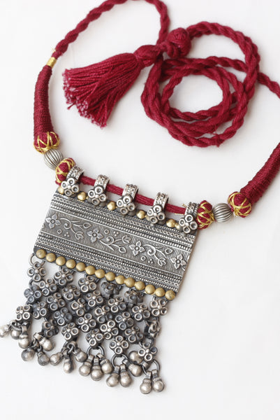 Red thread silver dual tone necklace, Oxidised, Ethnic, Adjustable dori, Jaipur , Handcrafted