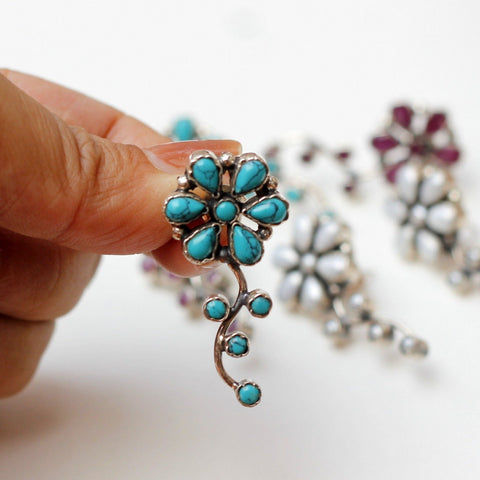 Floral turquoise earring sterling silver