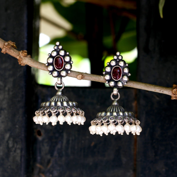 Sterling Silver temple jhumka with oxidised finish