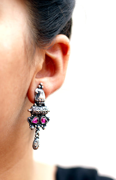 Temple style oxidised sterling silver earring with  ruby