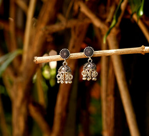 Petite Silver Jhumki with Rava Work