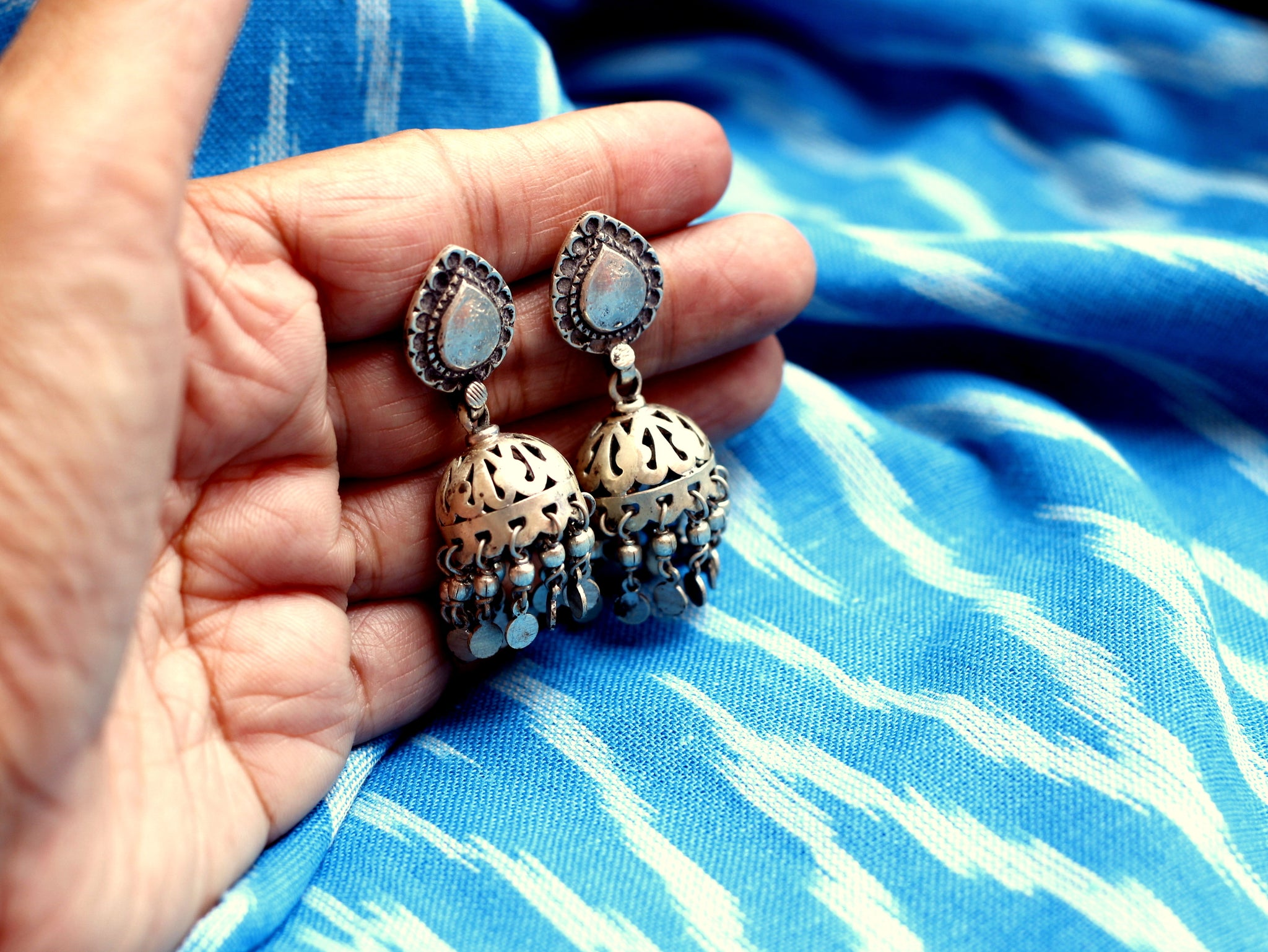 Sterling Silver Jhumka with tear drop stud.