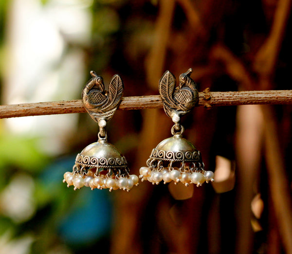 Peacock Oxidised Silver Jhumka with Pearl