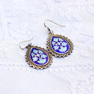 Blue Enamel earring in Sterling Silver