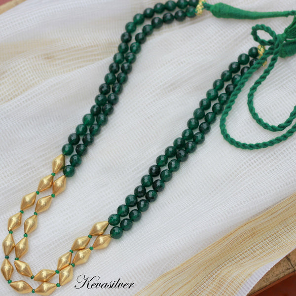 Green onyx Gold tone two layer Dholki necklace