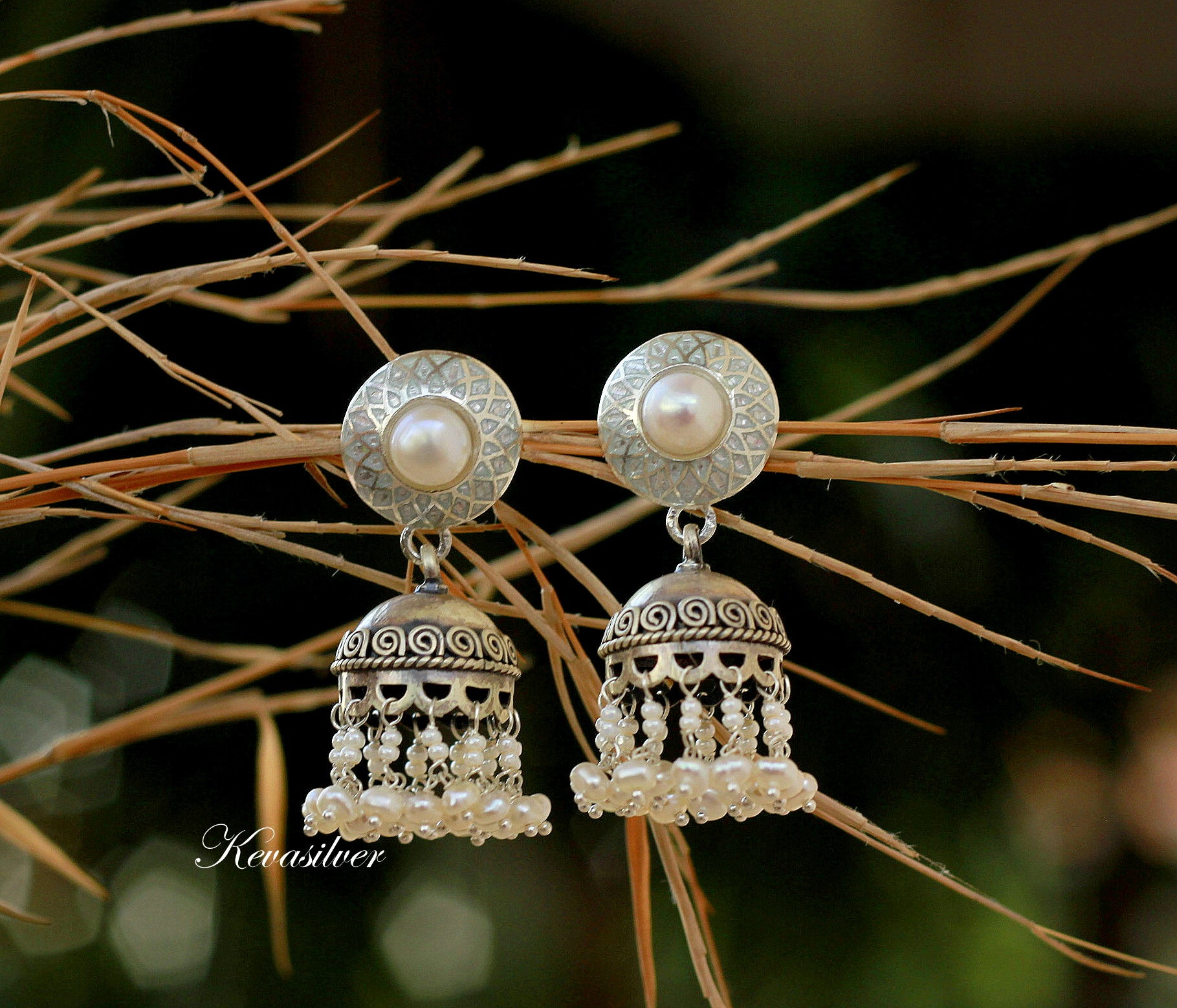 White enamel and pearl pure silver jhumki, Jhumka, Sterling Silver , Jaipur