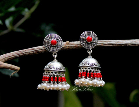 Pearl and red pure silver jhumki, Jhumka, Sterling Silver , Jaipur