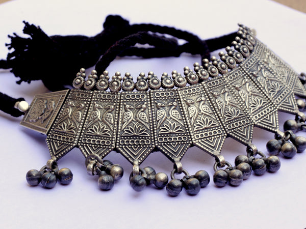Pure silver Choker, Silver Necklace,Indian Silver Necklace Set, Oxidised Necklace, Bohemian, Ethnic, Bollywood Jewelry, Indian Jewelry