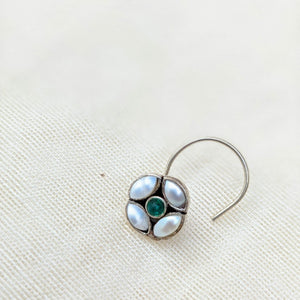 White pearl flower with green centre Silver wired Nose Pin