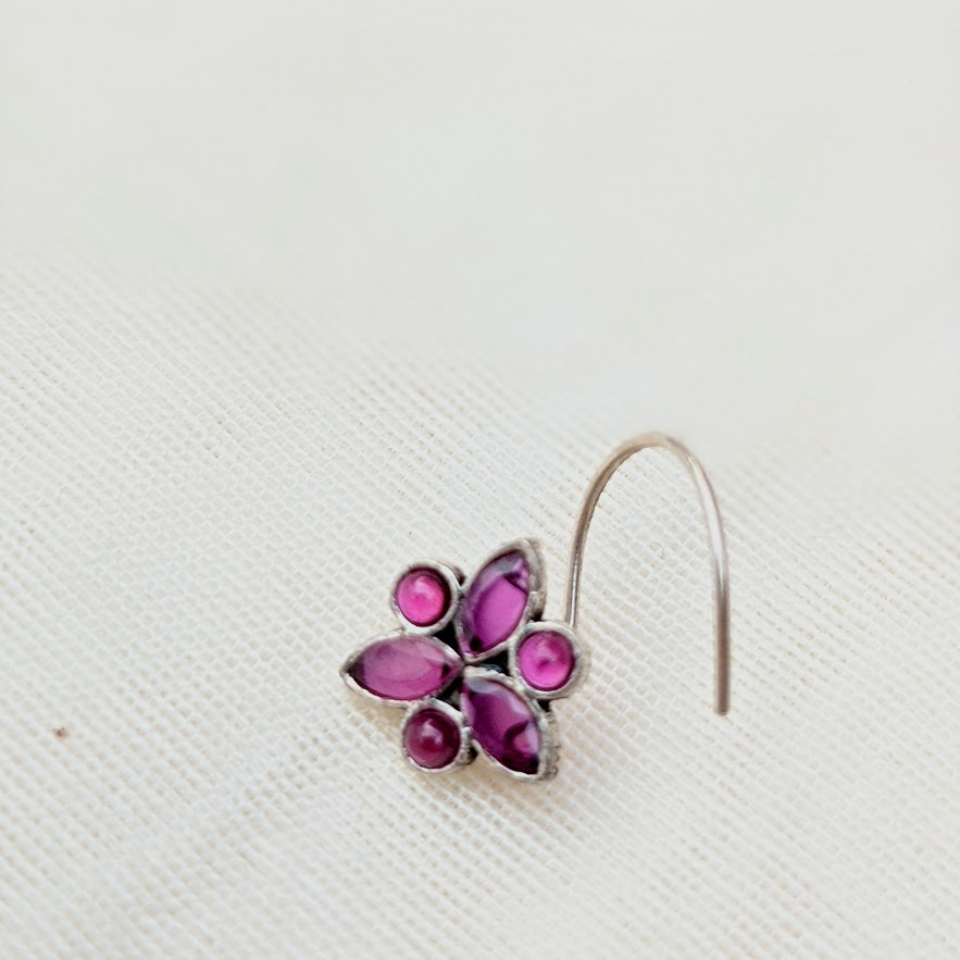Pink  Gemstone Floral Silver wired Nose Pin