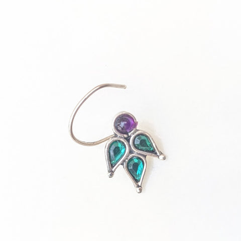 Tri leaf green  and purple gemstone Floral Silver wired Nose Pin