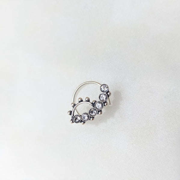 Zircon crescent nose pin