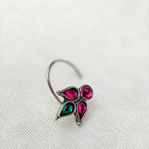 Tri leaf pink and green gemstone Floral Silver wired Nose Pin