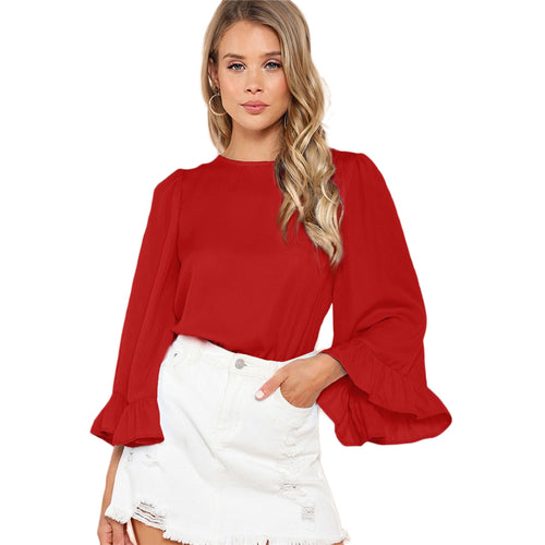 Elegant, Red Ruffle-Trim Sleeve Top