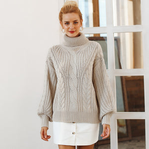 Roomy, Knitted, Turtleneck Sweater