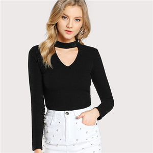 Choker Neck - Long Sleeve Slim Fitted Top