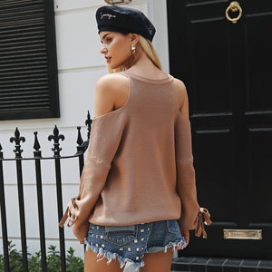 Open-Shoulder V-Neck Sweater