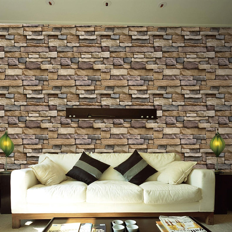 ... Load Image Into Gallery Viewer, Waterproof Stone Brick Wall Sticker  Self Adhesive Wallpaper Home Decor ...