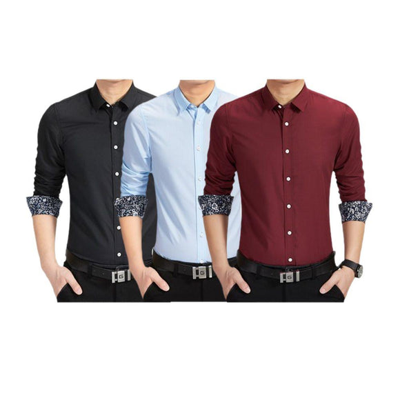 COMBO OF 3 Brand New Long Sleeve Classy Caramel Color Collar Folding Slim Fit Shirts For Men