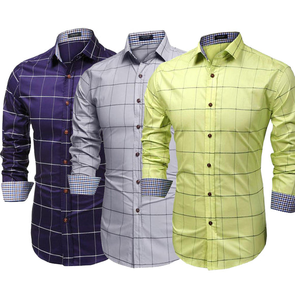 Comb of 3 New Patchwork classic long sleeves Slim Fit Casual Men Shirts