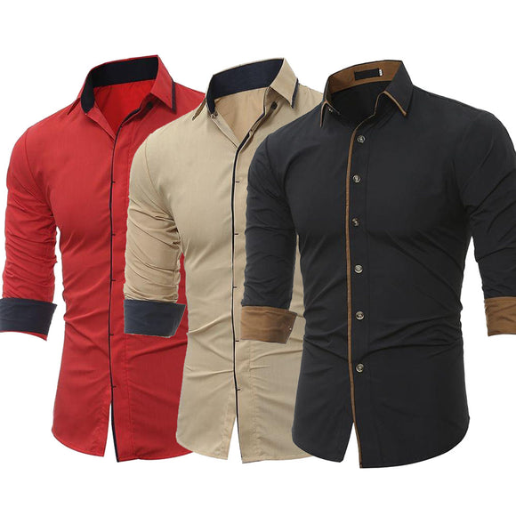 Combo of 3 New high quality long sleeved solid color Slim Fit Shirts for men