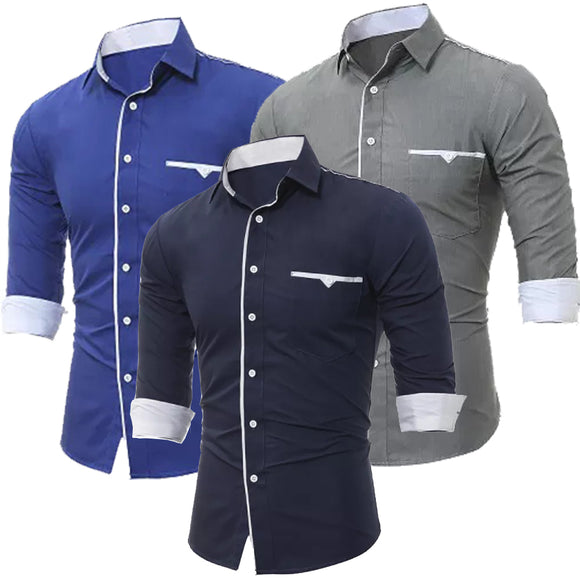 Men Brand Male High Quality Long Sleeve Casual Hit Slim Fit Black Man Dress Shirts