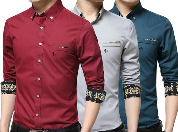 Combo of 3 Demi Seasonal Casual Long sleeves Pullover Slim Fit Men's Shirts