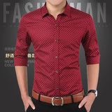 Mens Thin Section Slim Youth Shirt Cotton Dot Printing Business Casual Shirt