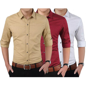 f7cef45875 Mens Thin Section Slim Youth Shirt Cotton Dot Printing Business Casual Shirt