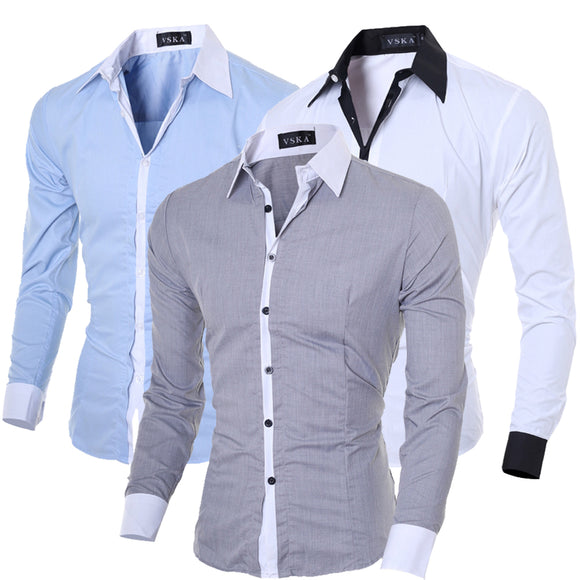 Men Recreational Square Collar Long Sleeved Shirt