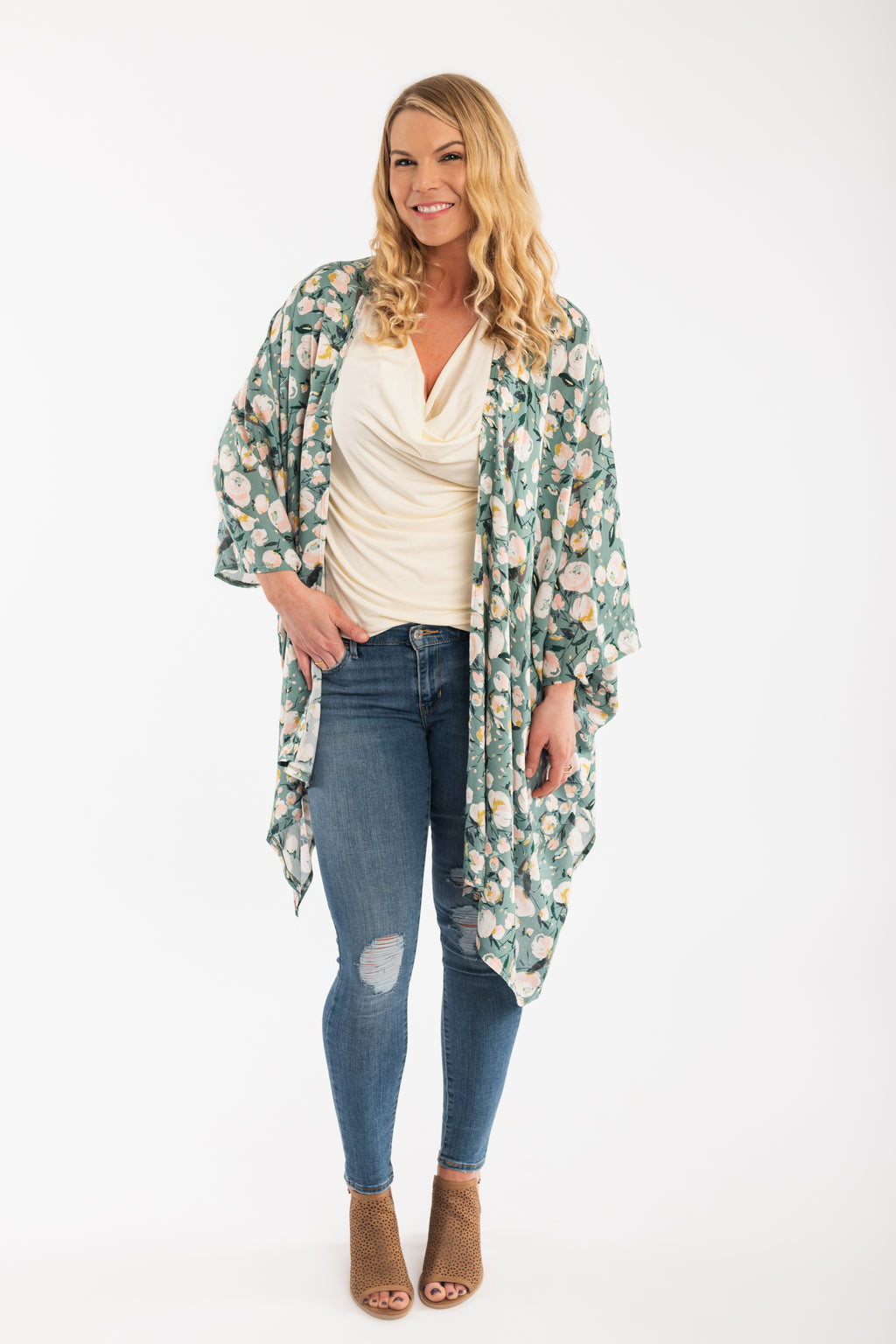 Mother of All Kimonos, Sage Green Peony