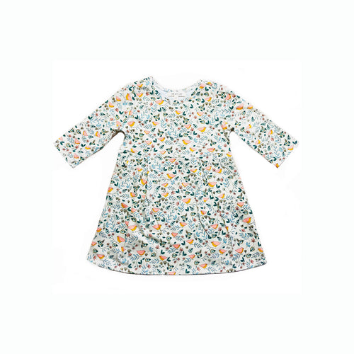 3/4 sleeve pocket dress in love bird print