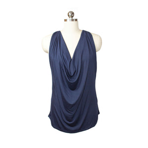 navy cowl neck sleeveless blouse