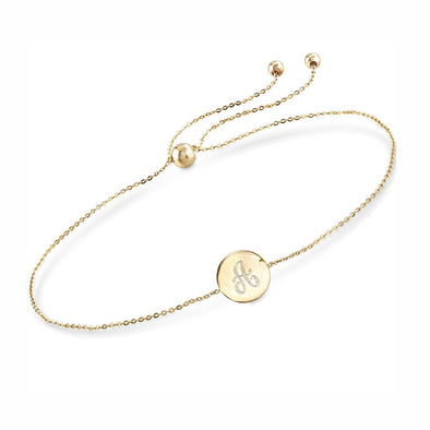925 Sterling Silver Personalized Single Initial Circle Disc Bracelet