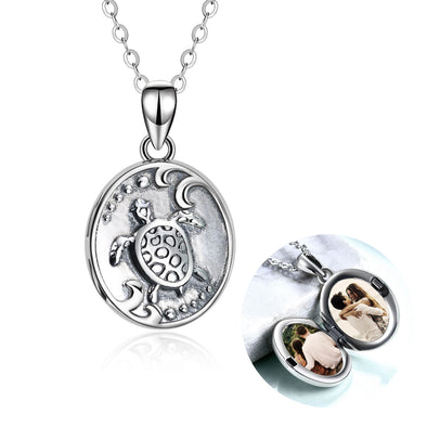 925 Sterling Silver Turtles Customizable Photo Necklaces