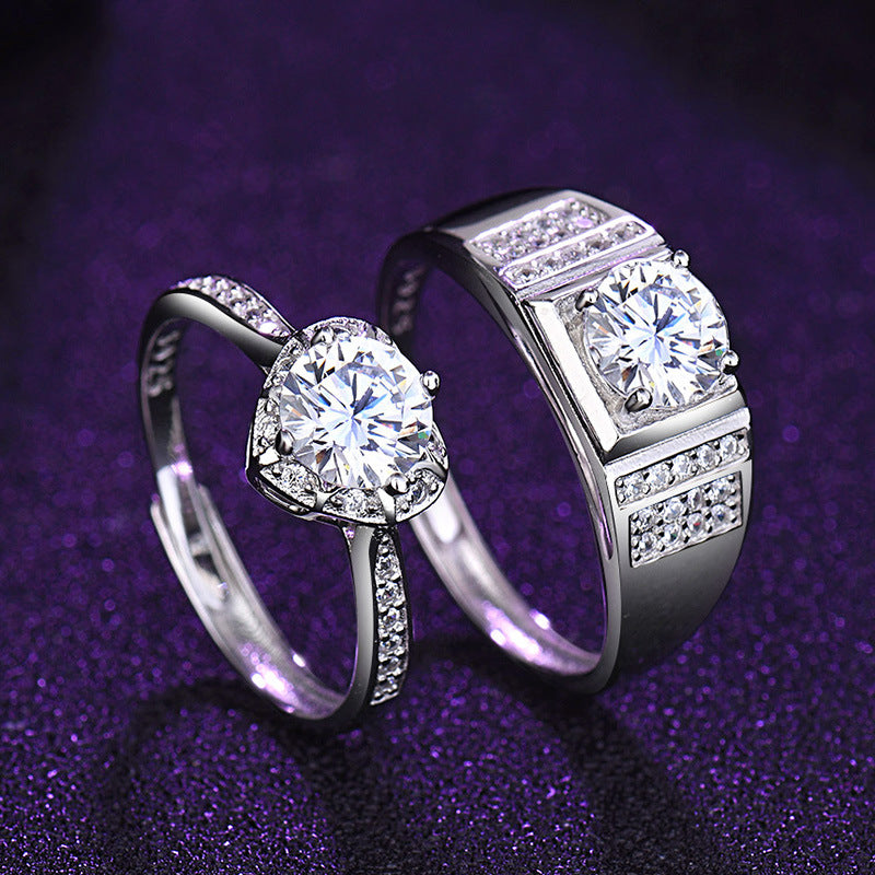 925 Sterling Silver Adjustable Zirconia/Moissanite Couple Rings